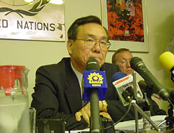 [Iran] UN Under-Secretary General and Emergency Relief Coordinator Kenzo Oshima Speaking to reporters in Tehran, press conference in Tehran.