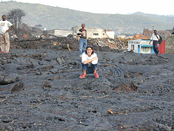 [DRC] Laura Melo, WFP Information Officer, atop Goma's main lava flow