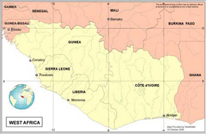 Country Map - West Africa (Guinea, Liberia, Sierra Leone, Cote d'lvoire)