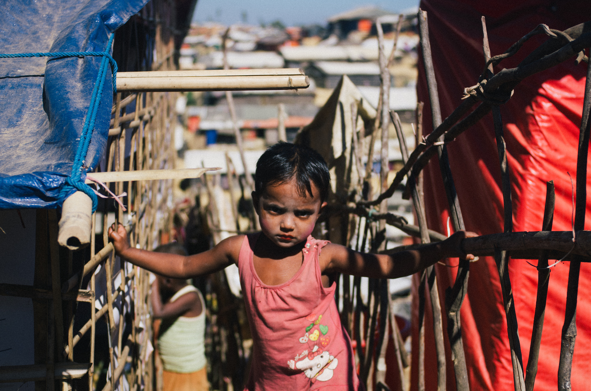 A child in Bangladesh's Rohingya refugee camps