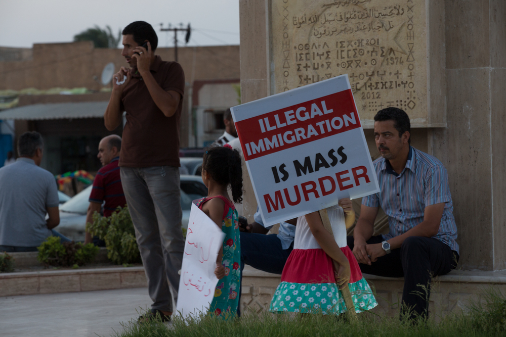 People in Libya protest against human trafficking