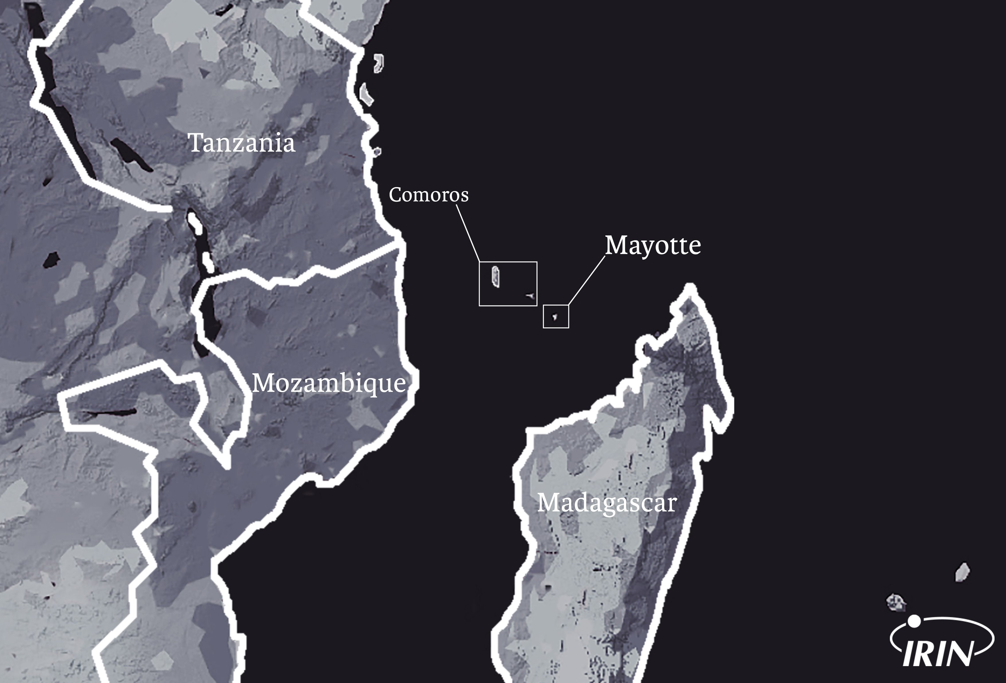 Map detailing location of Comoros, Mayotte, Madagascar, Mozambique, and Tanzania