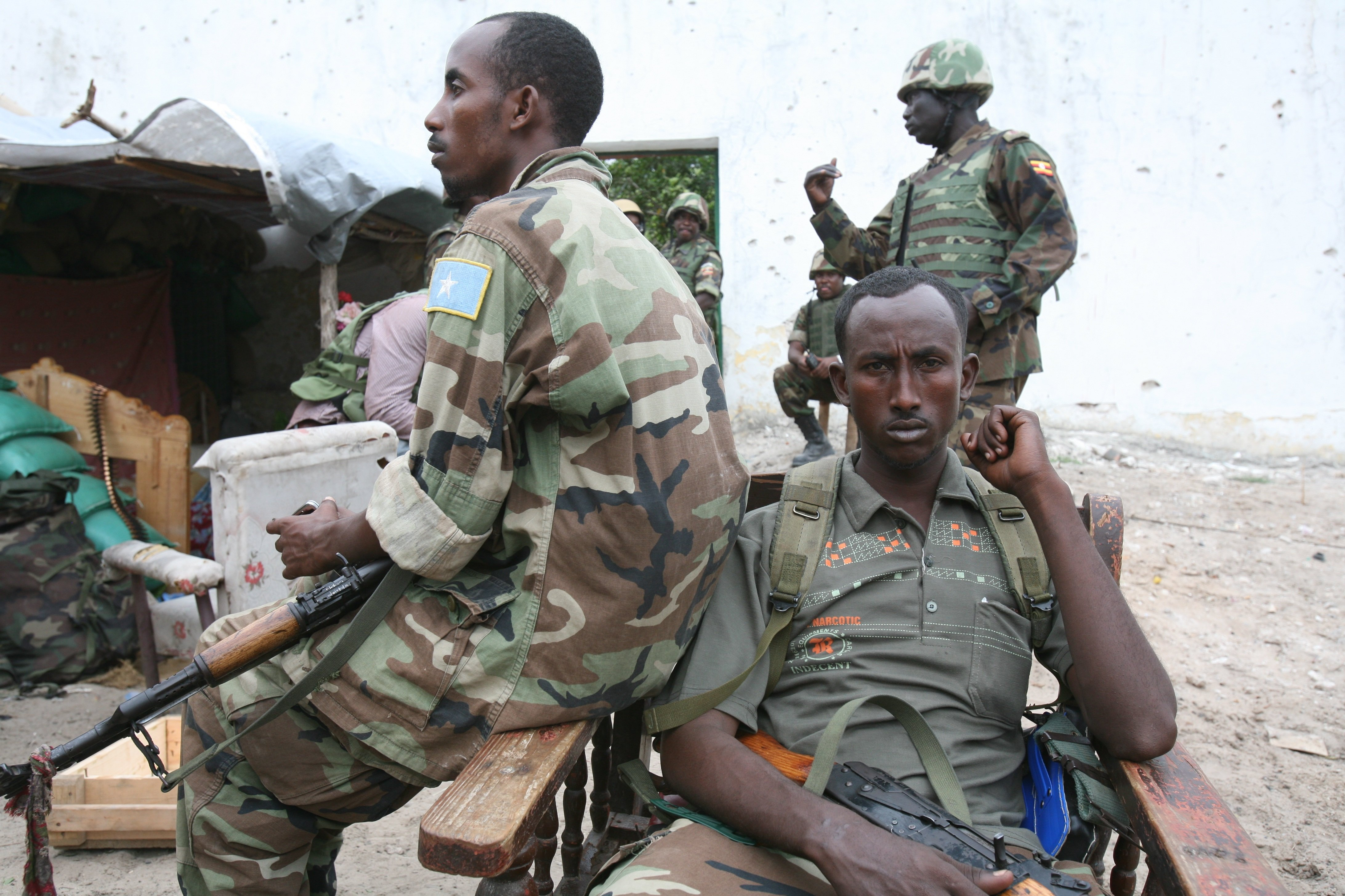 Somali troops with Ugandan AMISOM forces