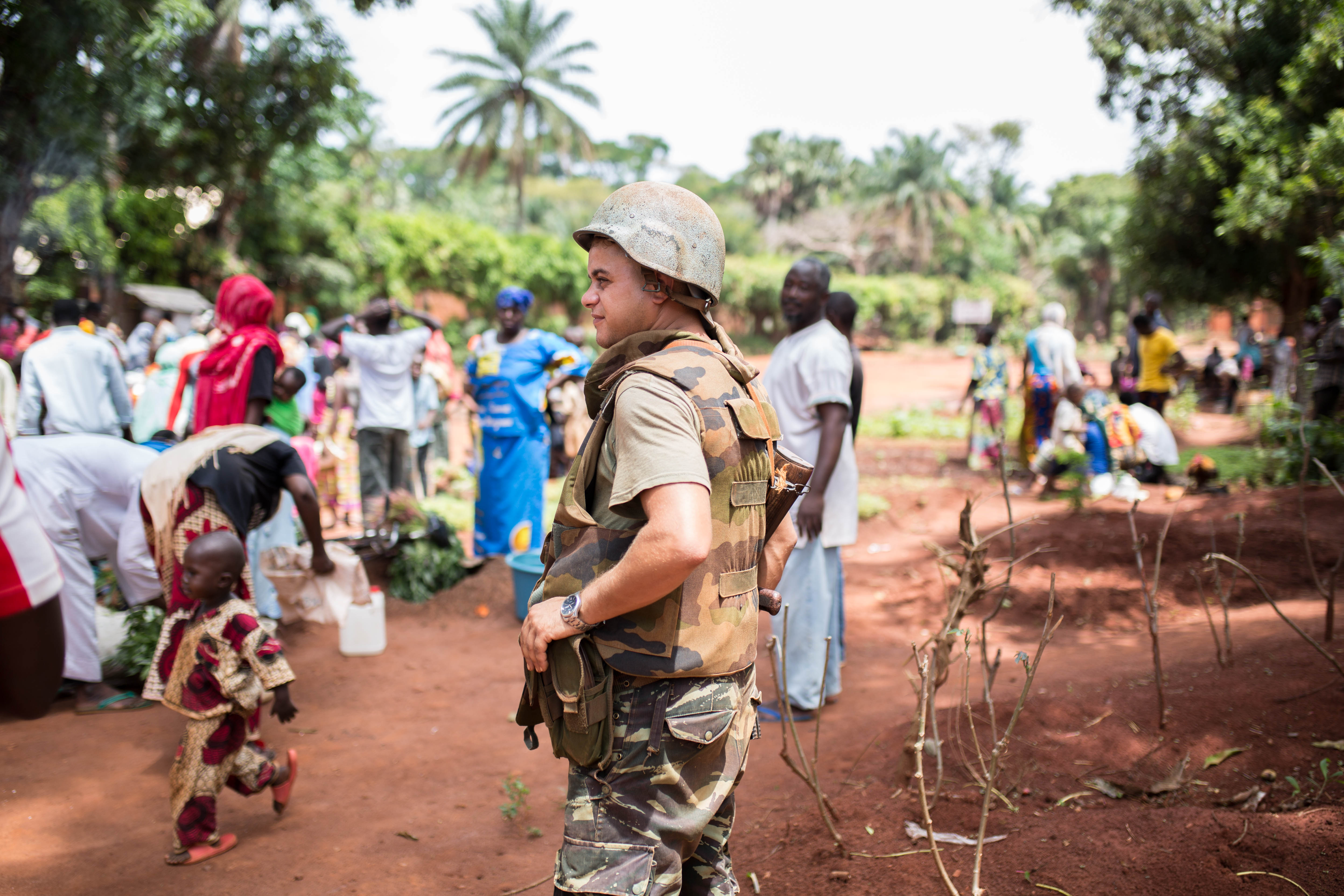 Morrocan Peacekeepers protect muslim internally displaced persons (IDPs) at a Catholic seminary in Bangassou.