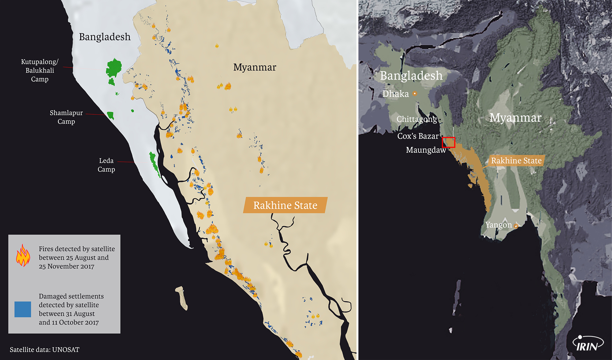 Map of Myanmar and Bangladesh including Rohingya camps, the Rakhine state, as well as satellite damage zone per UNOSAT