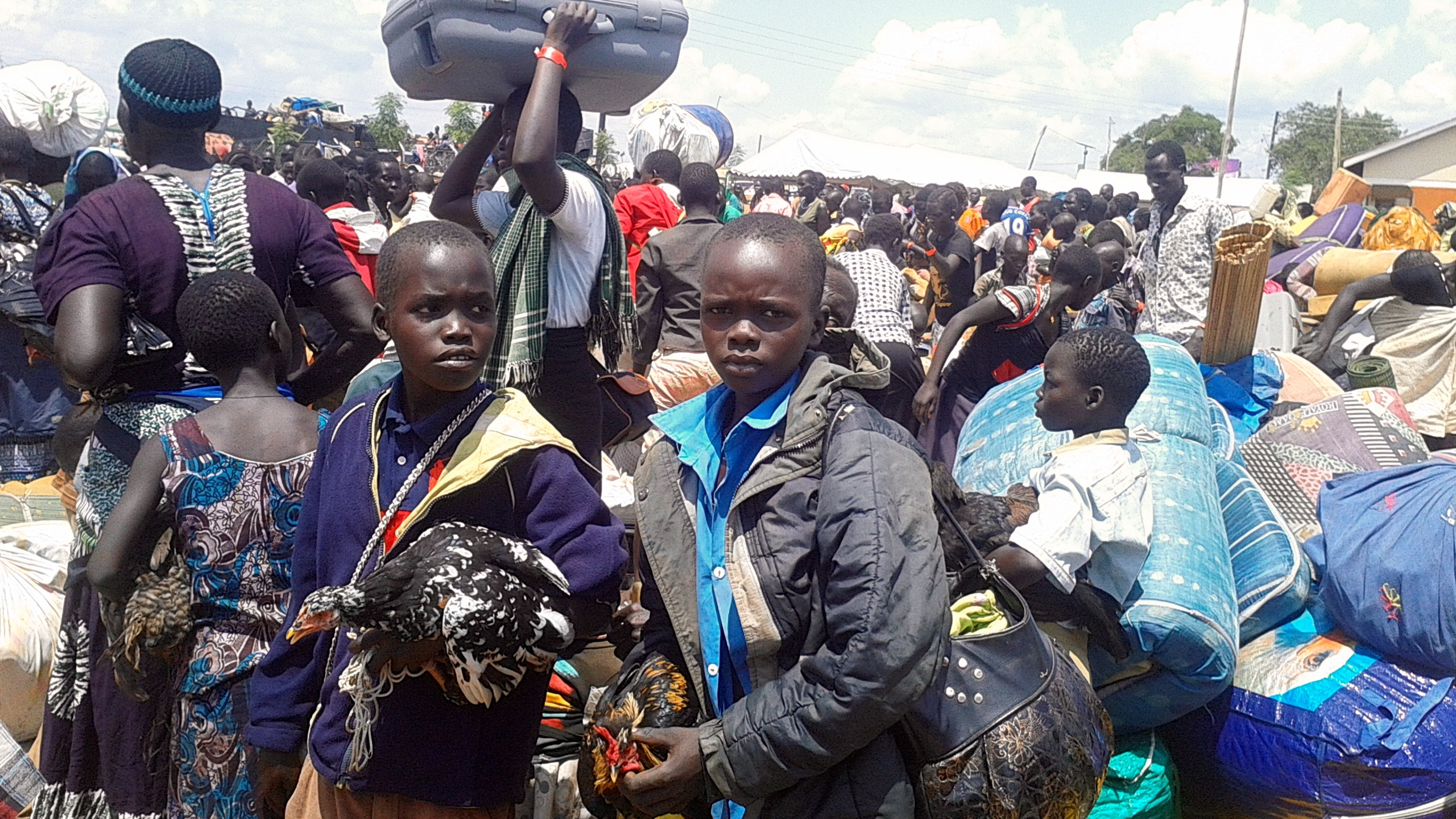 South Sudanese refugee boys holding chickens on arrival in Uganda