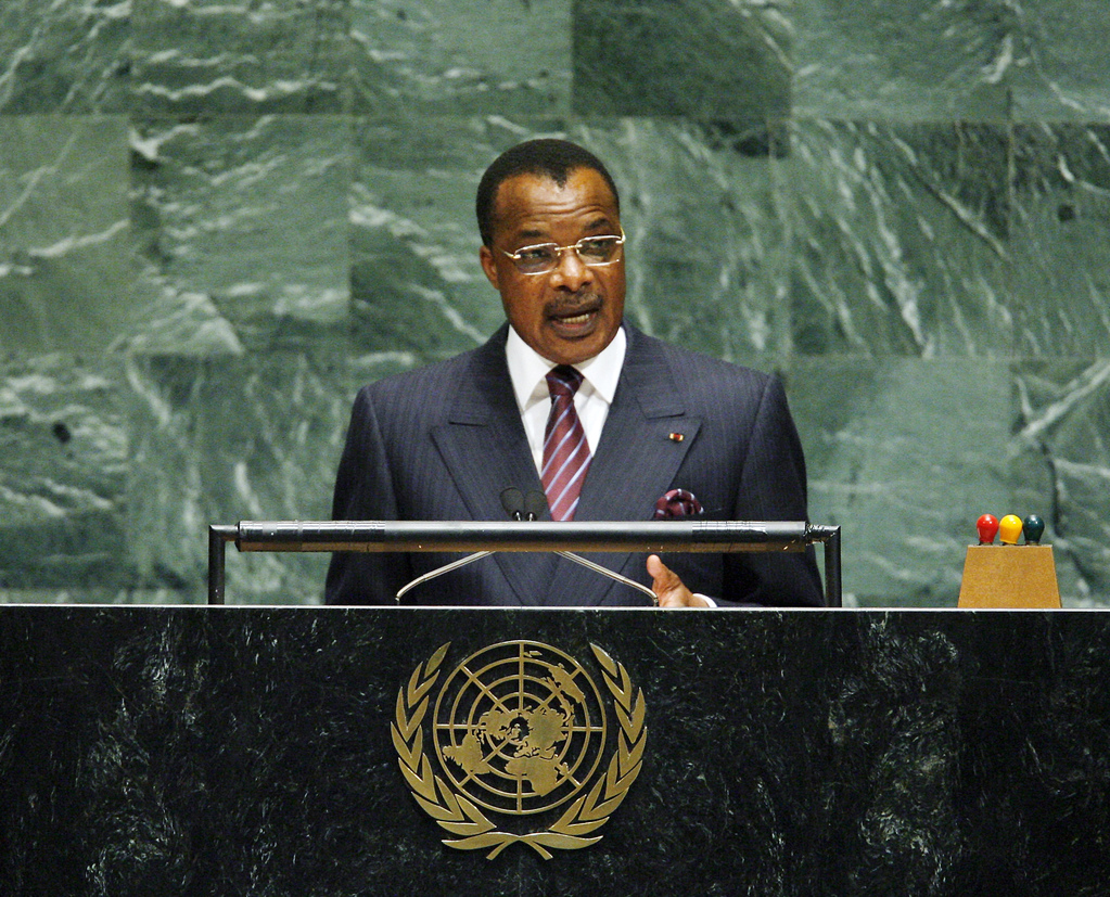 Denis Sassou Nguesso, President of the Republic of the Congo, stands at a podium at the UN