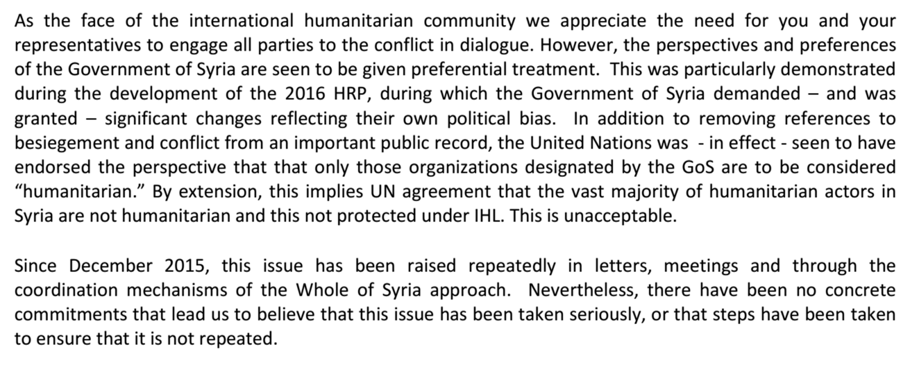 Extract from June 2016 letter from NGOs to UN on Syria