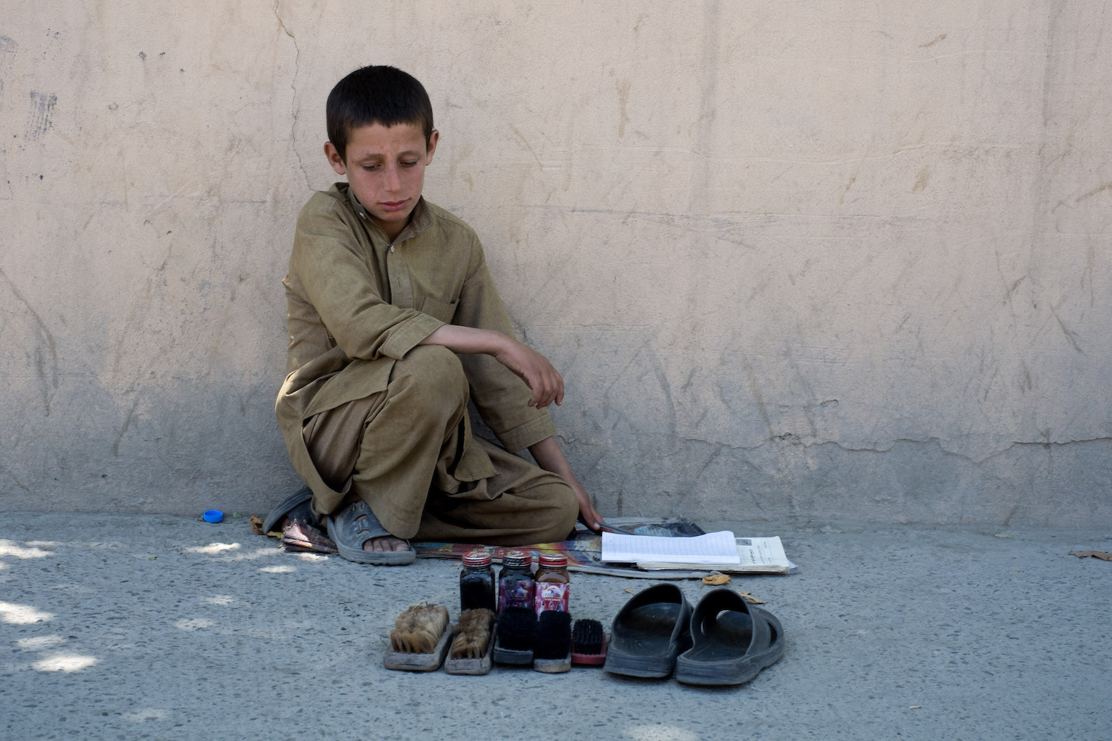 A shoeshine boy in Kabul