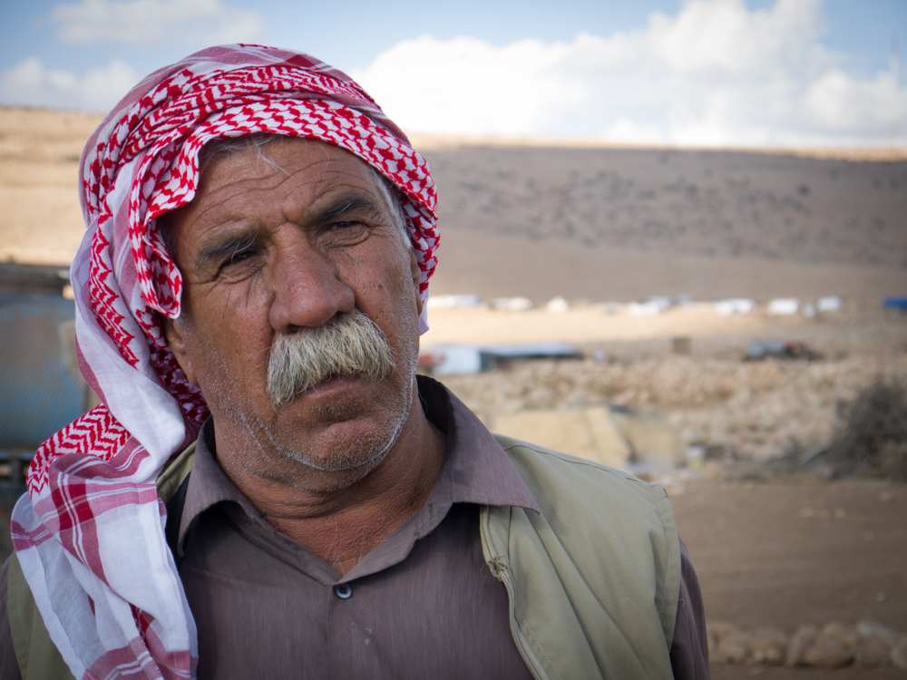 A Kurdish man on top of Mount Sinjar