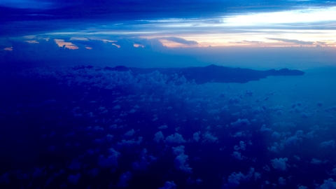 Sunset over Dominica in the Caribbean, September 2017