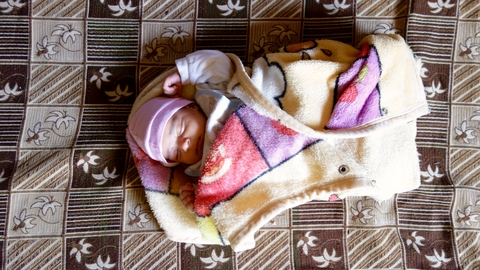 A new addition to a Syrian refugee family in Lebanon
