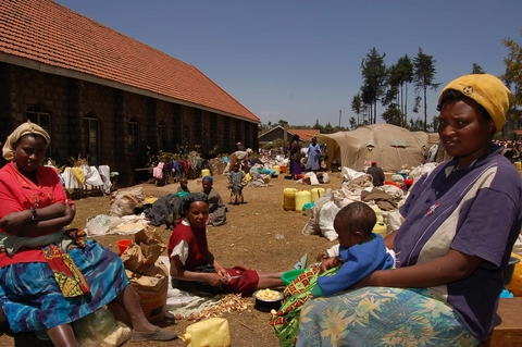 Internally displaced people at a church compound in Molo, Rift Valley Province, Kenya, 9 Feb 2008.