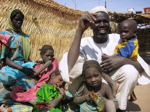 Yacoub Haroon and his children are displaced Chadians living in the border town of Adé. They have received no food aid in the last eight months.