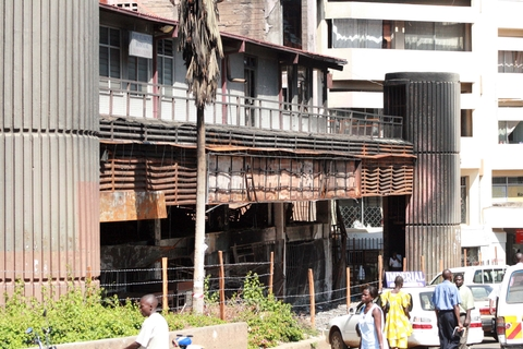 A building burnt by arsonists during the post-election violence in Kisumu city, Kenya, February 2008. Many businesses have suffered massive losses in the post-election violence, especially in Kisumu town.