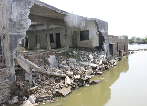 Homes destroyed by the flood waters from the Kabul river in Nowshera, Khyber Pakhtunkhwa province