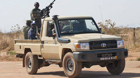 A Malian airfield force protection vehicle and crew at Bamako Airfield, Mali, Africa