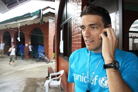 A UNICEF staff member speaking on his phone at the UN operations centre in Tacloban, one of the areas worst affected by Typhoon Haiyan, which struck the central Philippines on 8 November. Getting mobile networks up and running after a disaster are key in
