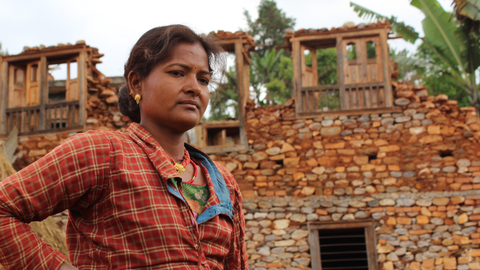 Benju Rai's house, in Mahadevsthan village, east of Kathmandu, was destroyed by the powerful earthquake that struck Nepal on 25 April 2015. Her husband was away working in Malaysia at the time but debts mean they cannot afford for him to come home and h