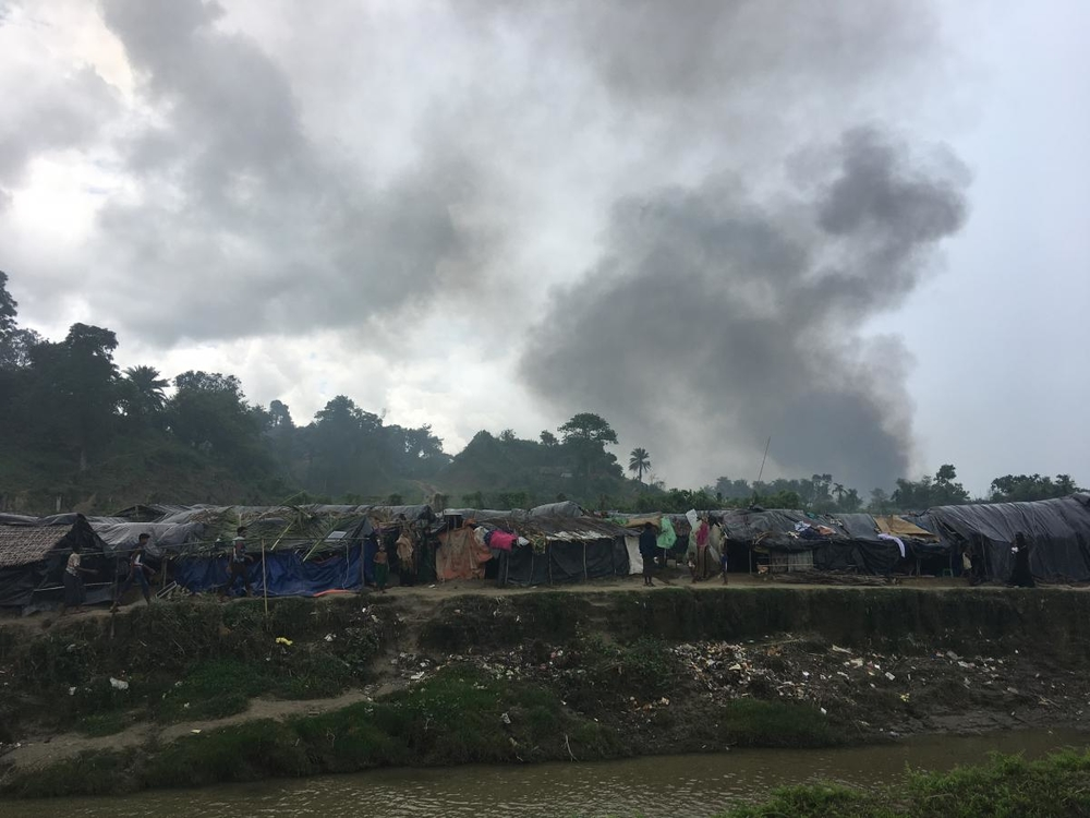 Smoke rises from village in Myanmar