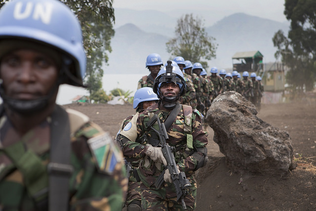 Single file line of MONUSCO soldiers