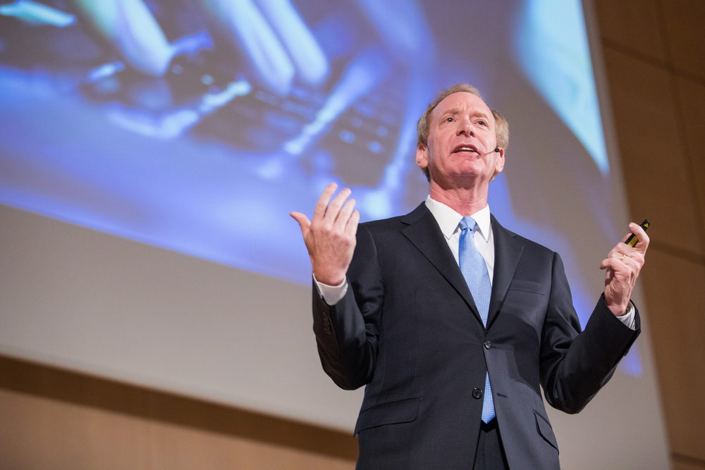 Microsoft President Brad Smith speaking at the UN in Geneva in November 2017