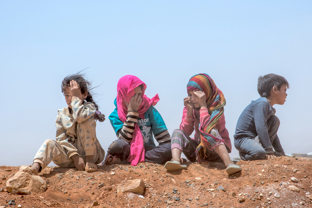 Children at Jordanian side of the no-man's-land camp of Rukban