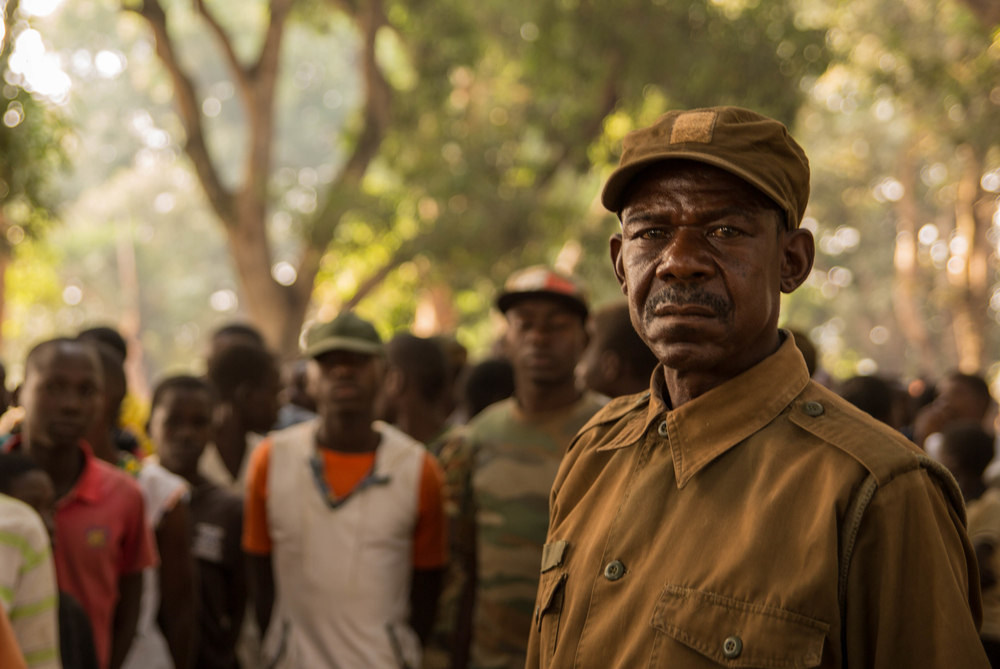 A commander stands in front of newly released child soldiers in South Sudan's Yambio.