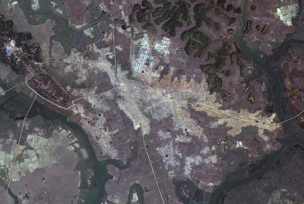 A satellite image taken on 27 February 2018 village shows extensive new construction south of Hla Poe Kaung village in Myanmar's northern Rakhine State.