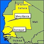 Country Map - Mauritania, Senegal