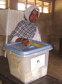 [Tanzania] A woman in Mkanyageni constituency, in the south of Pemba, casts her vote during the 18 May by-elections.