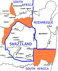 [SWAZILAND] Map showing territory in South Africa claimed by Swaziland.