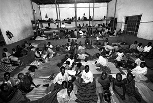 [Uganda] Many children in northern Uganda, such as this group at an accommodation centre in the bus park in Gulu, are forced to spend each night away from home.