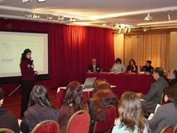 [Lebanon] Sahar Tabaja speaking at the launch of the report on the disabled. [Date picture taken: 01/14/2006]
