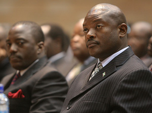 [Kenya] Pierre Nkurunziza, President of Burundi (right) next to Joseph Kabila, President of the Democratic Republic of Congo, at the International Conference on the Great Lakes Region, Nairobi, Kenya, 14 December 2006. The conference aims to find a lastin