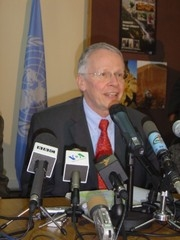 [Afghanistan] UN special envoy,Tom Koenigs speaking at a press conferernce in Kabul on Thursday 23 February. [Date picture taken: 02/23/2006]