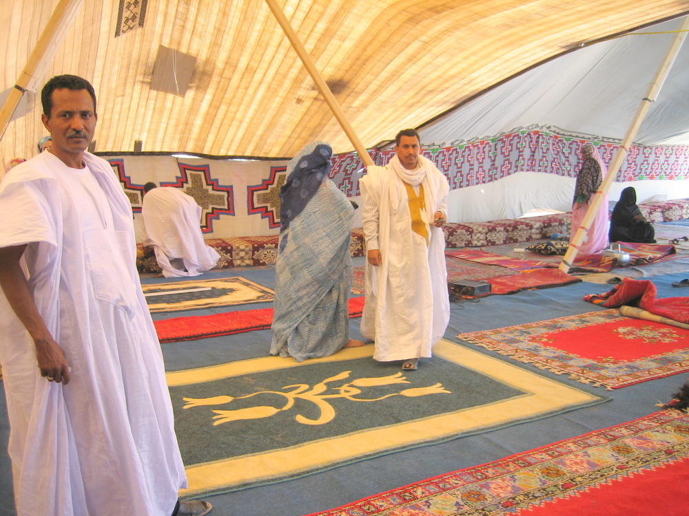 Black Moors inside a tent for presidential candidate Messaoud Ould Boulkheir in the capital Nouakchott