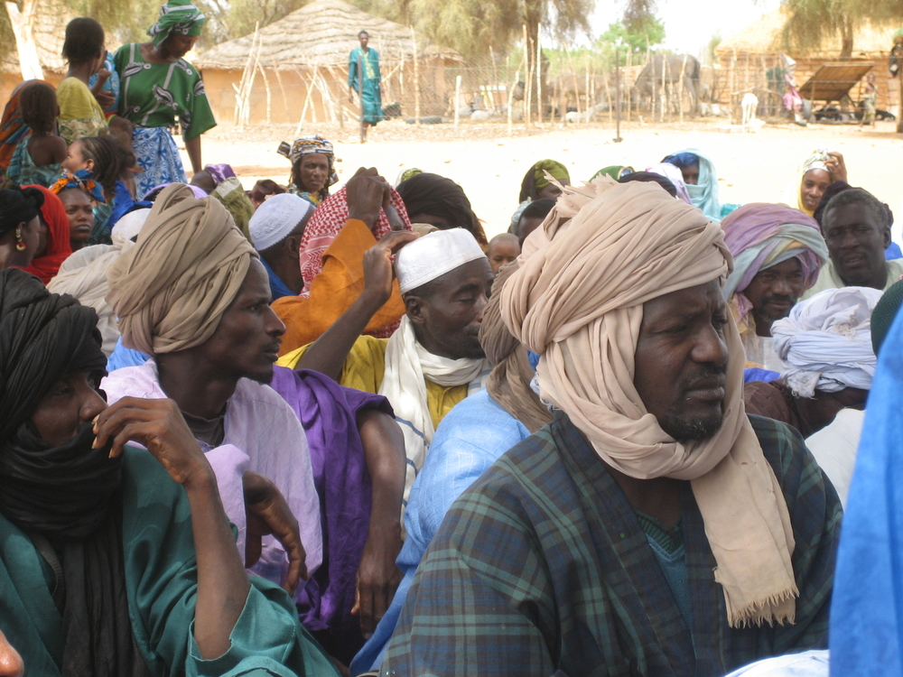 Leaders for a group of Mauritanian refugees wait to meet with UNHCR representatives at a refugee camp in Ndioum, Senegal. Over 20,000 Mauritanian refugees remain in northern Senegal after they were expelled from their country 18 years ago.