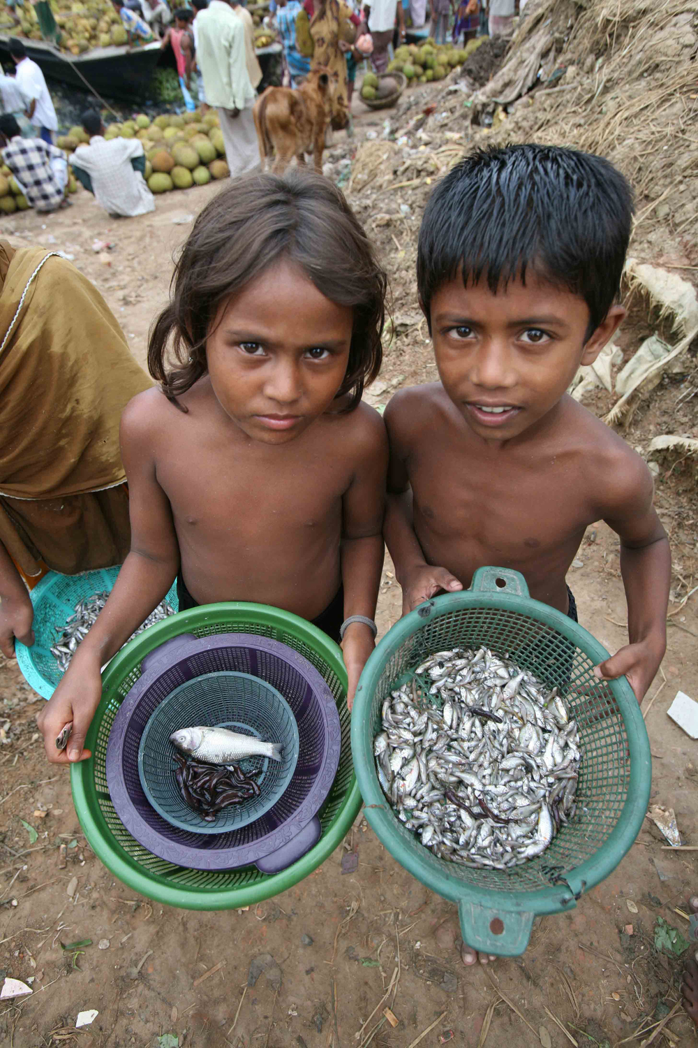 Children at the local market display fish for sale in Dhaka, Bangladesh, July 2007. More than 400,000 children in the city of Dhaka work from dawn until dusk each day to help support their families.