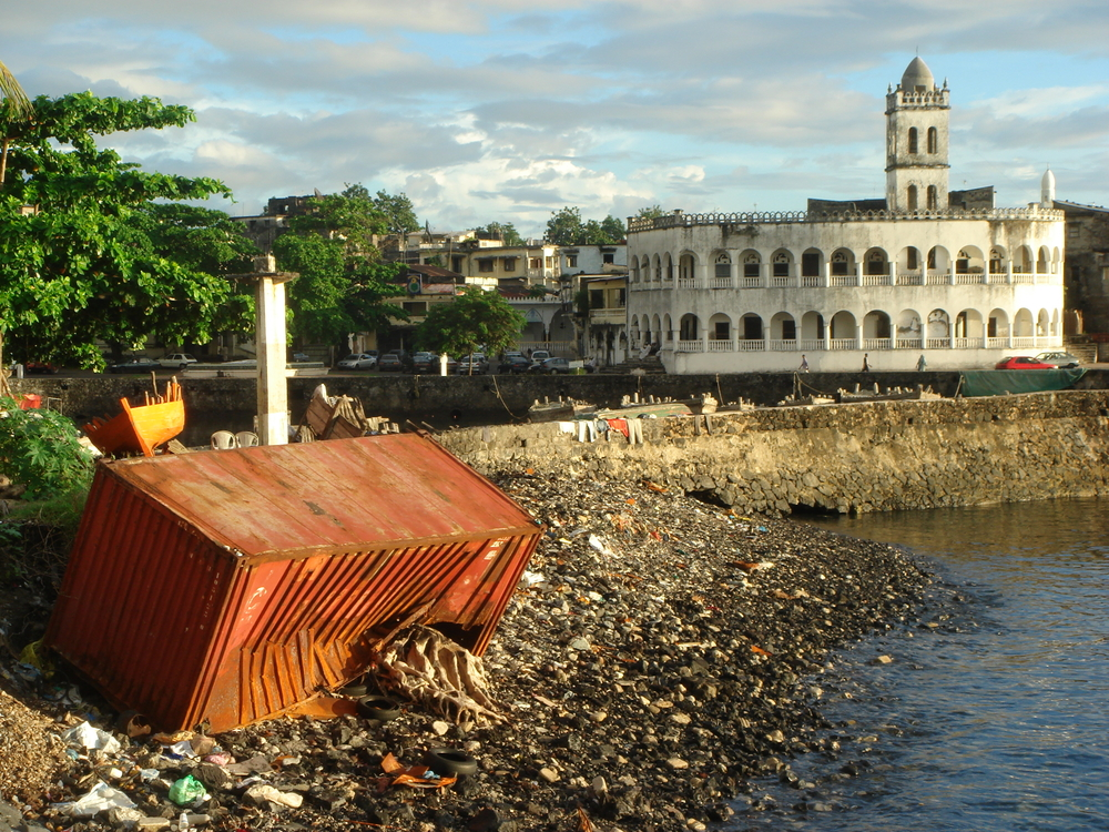 A washed up container rusts away in the main harbour of Moroni, the Comoros Union capital. Much needed development aid is being held back until the Anjouan crisis is resolved.