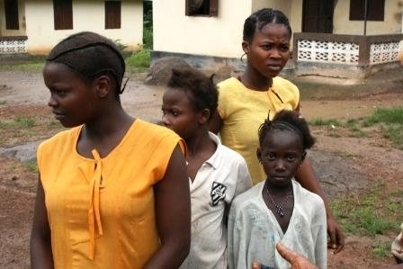 School girls at a village near the northern town of Makeni.