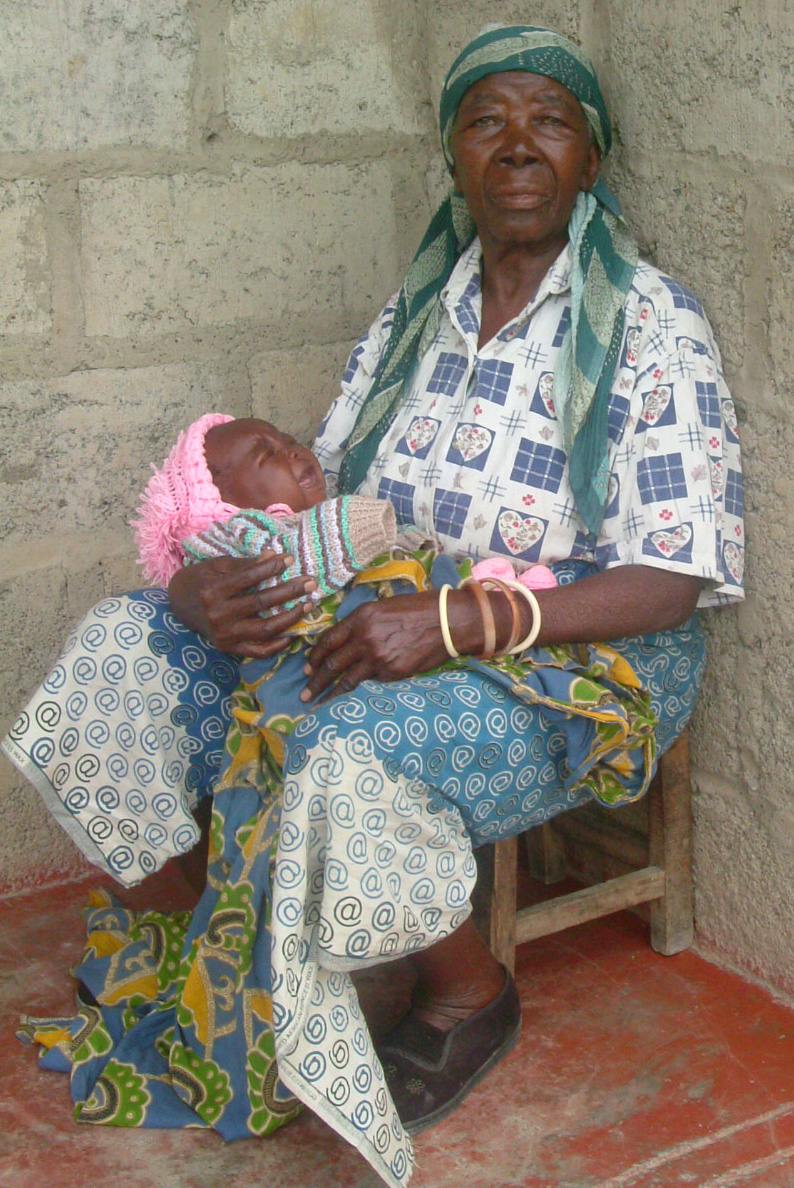 Modester Kalonde, 79, with her 8-month old HIV-positive granddaughter.