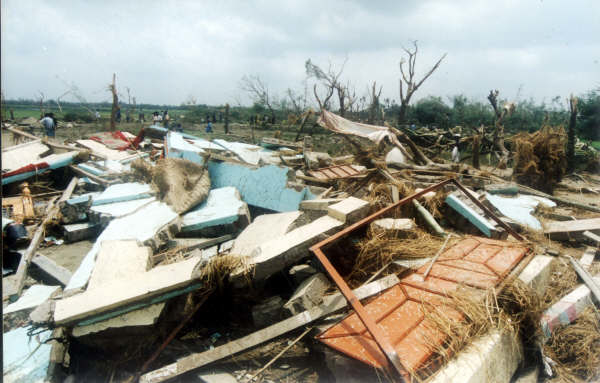 Ruins of a tornado. Each year pre- and post-monsoon tornadoes wreak havoc on the lives and the economy of Bangladeshi people.