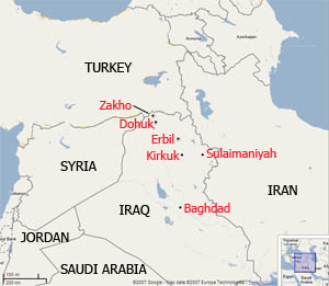 A map of Iraq and the surrounding region highlighting Zakho, on the Iraq-Turket border.