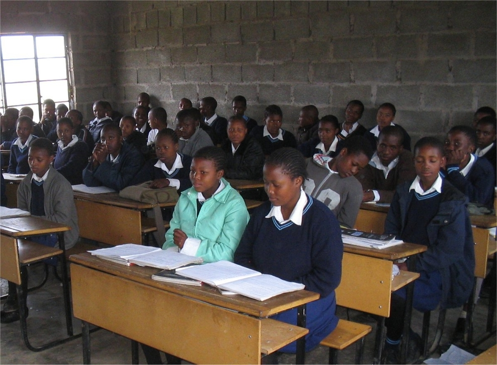 Secondary school students at Moruthane Secondary School, about 80km south of the capital, Maseru. About half of the children are AIDS orphans.