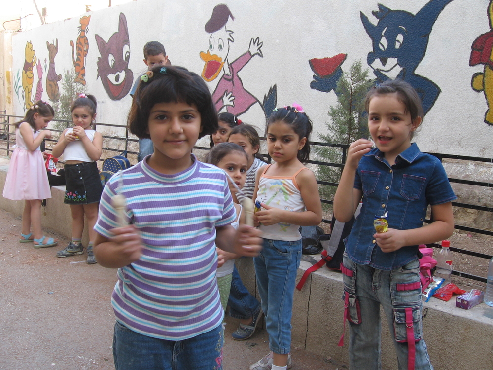 Iraqi children play in a makeshift school in east Amman, Jordan.