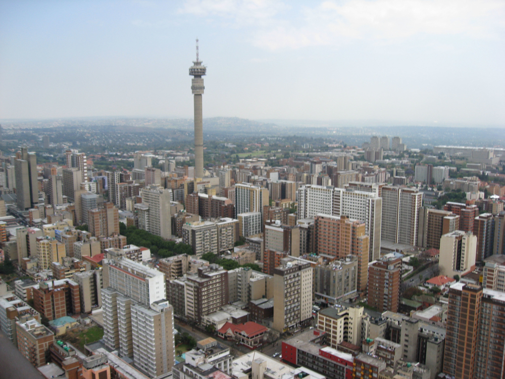 An aerial view of inner-city Johannesburg.