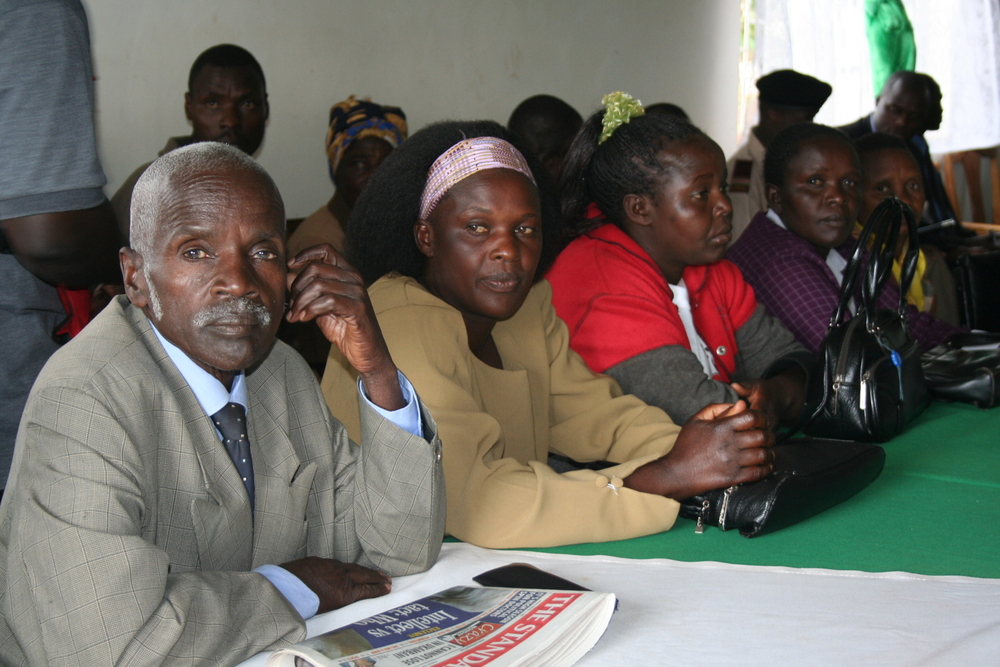 Civil, religious and local leaders from Mt Elgon attending a meeting called by the DC at Kapsokwony, the district headquarters, Kenya. 10 December 2007.