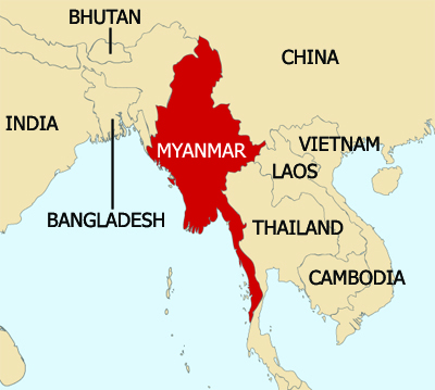A map showing Myanmar and surrounding countries.