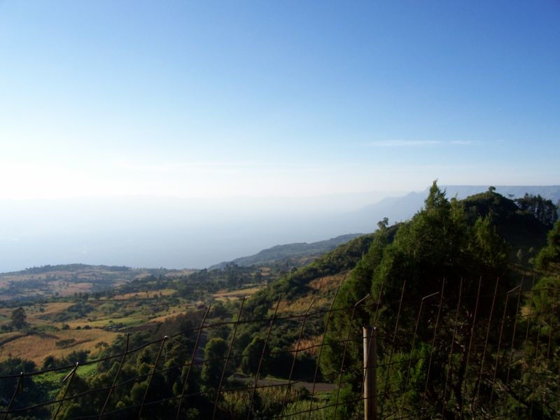 This is a photo of the Great Rift Valley as it is visible near Eldoret, Kenya. It was taken by Michael Shade in the fall of 2006.